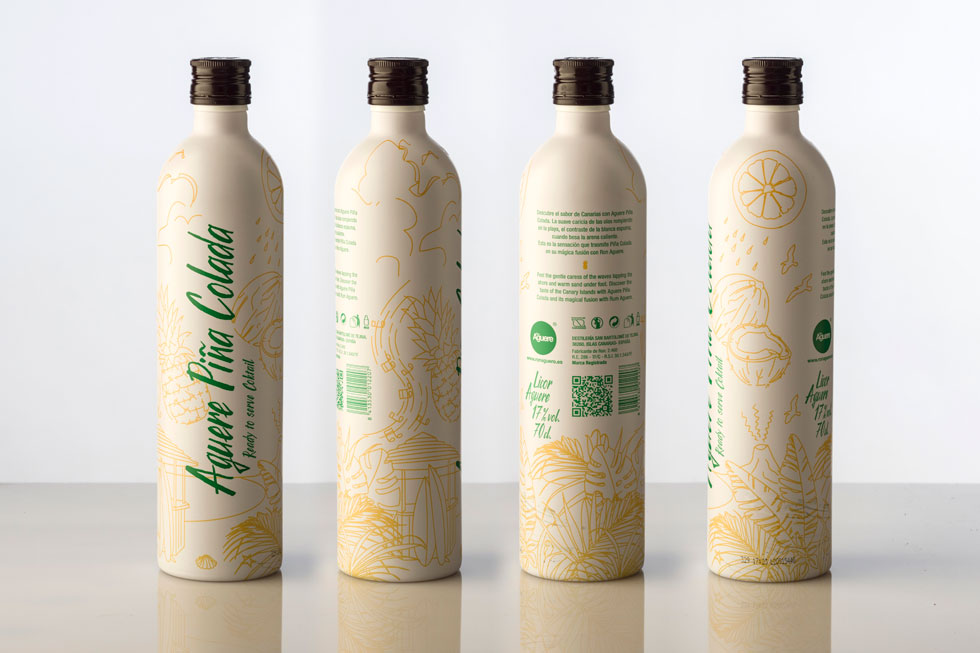 Packaging Ron Aguere Piña Colada 360 Grados