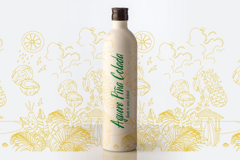 Packaging Ron Aguere Piña Colada Ilustración Botella